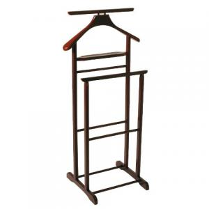 Dual Rail Wooden Valet Stand in Tobacco
