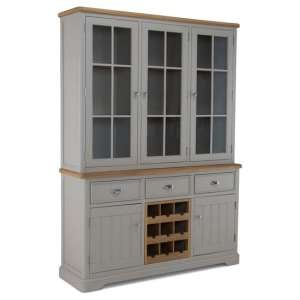 Sunburst Wooden Display Cabinet In Grey And Solid Oak