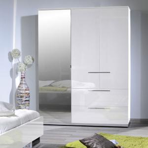 Sinatra White High Gloss Finish 3 Door Wardrobe With Mirror