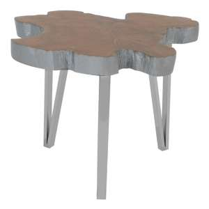 Praecipua Medium Wooden Side Table In Silver