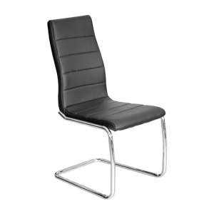 Svenska Black PU Leather Dining Chair With Chrome Legs