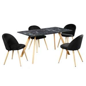 Swart Dining Table In Black Marble Effect With Black Chairs