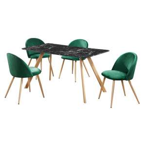 Swart Dining Table In Black Marble Effect With Green Chairs