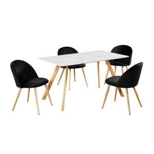 Swart Dining Table In White Marble Effect With Black Chairs