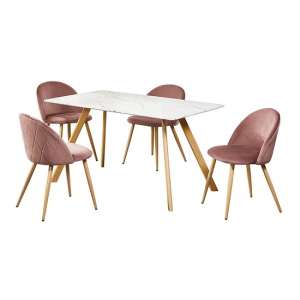 Swart Dining Table In White Marble Effect With Pink Chairs