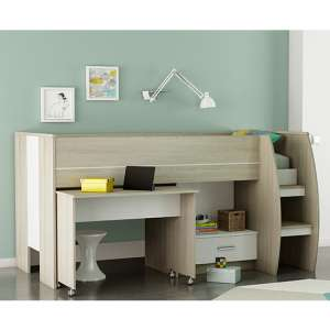 Swatch Bunk Bed With Desk In Shannon Oak And Pearl White