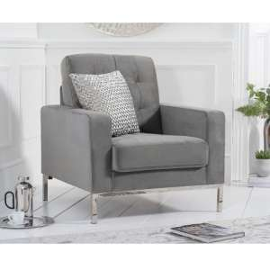 Swiger High Back Velvet Armchair In Grey With Metal Legs