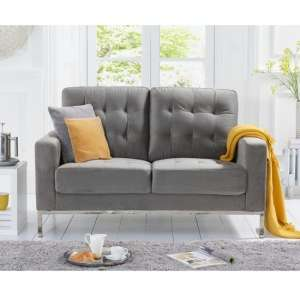 Swiger Velvet Two Seater Sofa In Grey With Metal Legs
