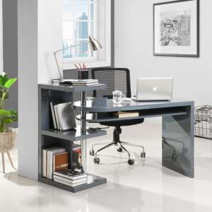 Sydney Rotating Office Desk in High Gloss Grey