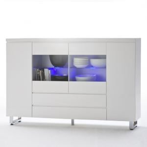 Sydney Wide Sideboard In High Gloss White With LED Lights