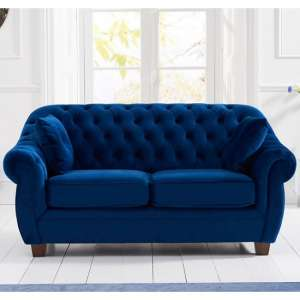 Sylvan Chesterfield Fabric 2 Seater Sofa In Blue Plush