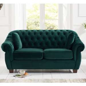 Sylvan Chesterfield Fabric 2 Seater Sofa In Green Plush