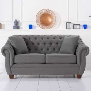 Sylvan Chesterfield Style Fabric 2 Seater Sofa In Grey Linen