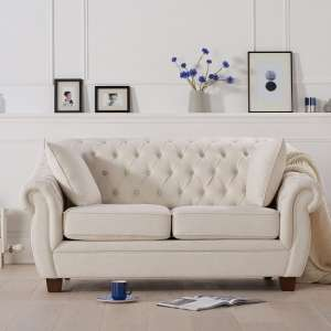 Sylvan Chesterfield Style Fabric 2 Seater Sofa In Ivory