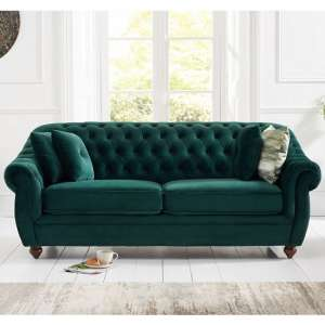 Sylvan Chesterfield Fabric 3 Seater Sofa In Green Plush