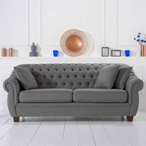 Sylvan Chesterfield Style Fabric 3 Seater Sofa In Grey Linen