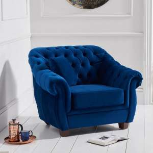 Sylvan Chesterfield Fabric Sofa Chair In Blue Plush