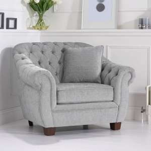 Sylvan Chesterfield Style Fabric Sofa Chair In Grey Plush