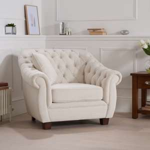Sylvan Chesterfield Style Fabric Sofa Chair In Ivory