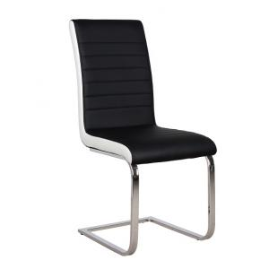Symphony Dining Chair In Black And White PU With Chrome Base_2