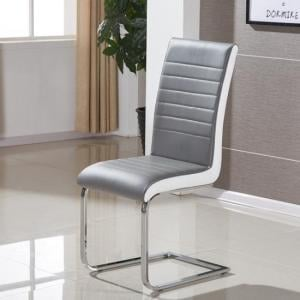 Symphony Dining Chair In Grey And White PU With Chrome Base