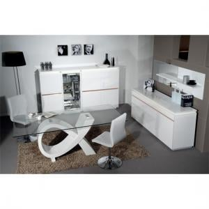 Elisa High Gloss White 4 Seater Dining Table And Chairs