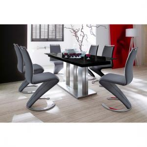 Massimo Extending Black Glass Table With 8 Black Chairs
