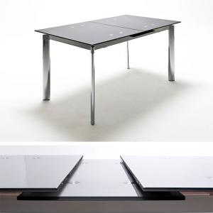 Plato Extendable Dining Table In Black Glass With Chrome