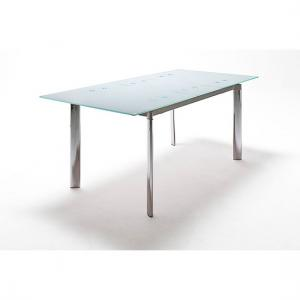 Plato Extendable Dining Table In Frosted White Glass