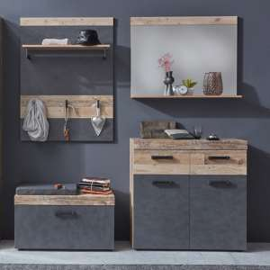 Tailor Hallway Furniture Set In Pale Wood And Matera