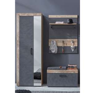 Tailor Pale Wood And Matera Hallway Furniture Set And Coat Rack