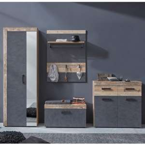 Tailor Pale Wood And Matera Hallway Furniture Set Without Mirror