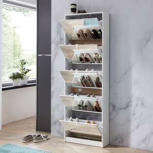 Tall Mirrored Shoe Storage Cabinet In White With Five Drawers