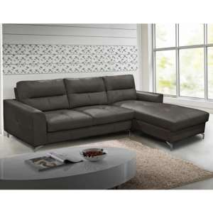 Tanaro Leathaire Fabric Right Handed Corner Sofa Bed In Grey