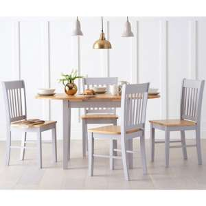 Tango Extendable Dining Set In Grey And Oak With 4 Chairs