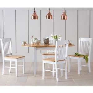 Tango Extendable Dining Set In White And Oak With 4 Chairs