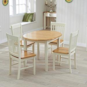 Tango Extendable Dining Set In Cream And Oak With 4 Chairs