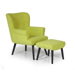 Tanwen Fabric Lounge Chair In Green With Wooden Legs