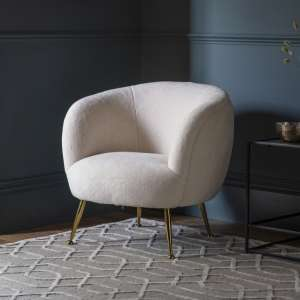 Taryn Faux Sheepskin Tub Chair In White With Brass Finish Legs