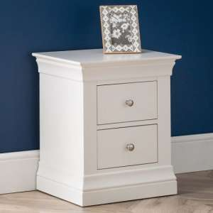 Tassio Bedside Cabinet In White Lacquer With Two Doors