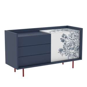 Tauris Wooden Sideboard In Dark Blue And White With 3 Drawers