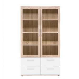 Taurus Wooden Display Cabinet In White And Sonoma Oak