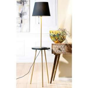 Tavolo Floor Lamp In Gold And Black With Wood Stand