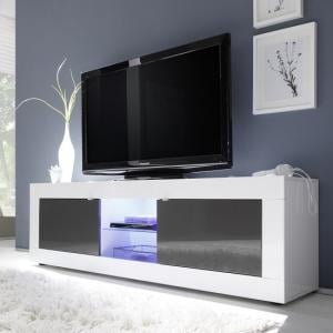 Taylor TV Stand Large In White Anthracite High Gloss With LED
