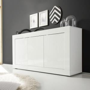 Taylor Contemporary Sideboard In White High Gloss With 3 Doors