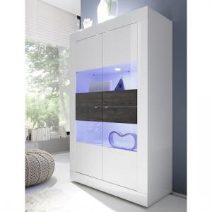 Taylor Display Cabinet Wide In White High Gloss And Wenge LED