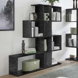 Taze Wooden Shelving Bookcase In Black High Gloss Marble Effect