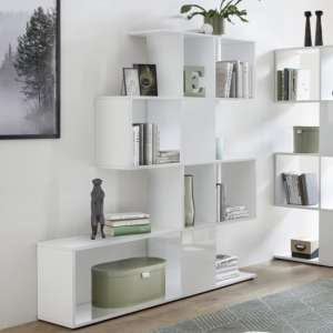 Taze Wooden Shelving Bookcase In White