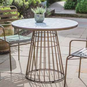 Teddington Mosaic Ceramic Bistro Table In Bronze Metal Base