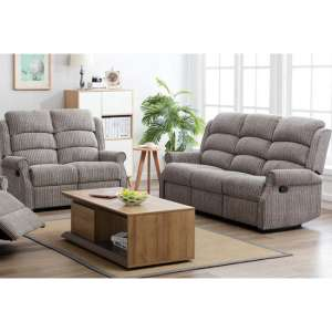 Tegmine 3 Seater Sofa And 2 Seater Sofa Reclining Suite In Latte